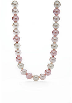 Kim Rogers Silver-Tone Pink Pearl Collar Necklace