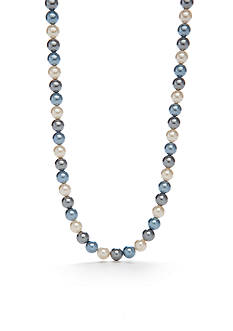 Kim Rogers Silver-Tone Blue Glass Pearl Collar Necklace