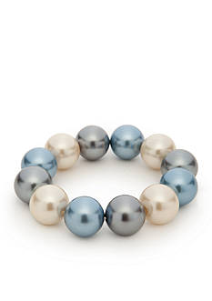 Kim Rogers® Blue Glass Pearl Large Stretch Bracelet