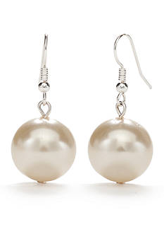 Kim Rogers Silver-Tone Large White Glass Pearl Drop Earrings