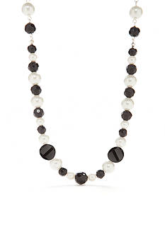 Kim Rogers Silver-Tone Jet Pearl Collar Necklace