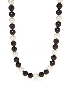 Kim Rogers Silver-Tone Jet Pearl Short Strand Necklace