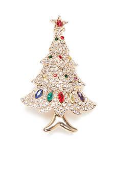 Kim Rogers Gold-Tone Crystal Holiday Tree Pin