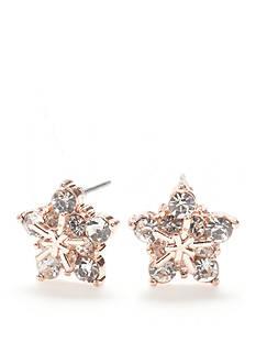 Kim Rogers Rose Gold-Tone Crystal Snowflake Stud Earrings