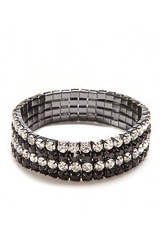 Kim Rogers Hematite-Tone Four Row Rhinestone Stretch Bracelet