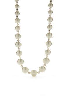 Kim Rogers Silver-Tone White Pearl Collar Necklace