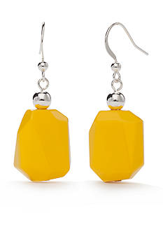 Kim Rogers Silver-Tone Yellow Lucite Geometric Drop Earrings