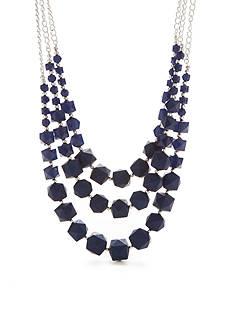 Kim Rogers Silver-Tone Americana Lucite Multi-Strand Necklace