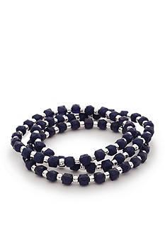 Kim Rogers Silver-Tone Americana Lucite 3-Piece Stretch Bracelet Set