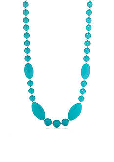 Kim Rogers Silver-Tone Turquoise Lucite Long Necklace