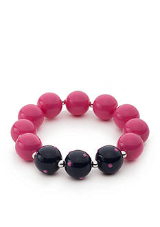 Kim Rogers Silver-Tone Pink Navy Lucite Stretch Bracelet