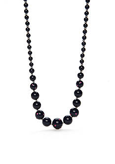 Kim Rogers Silver-Tone Pink Navy Lucite Strand Necklace