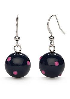 Kim Rogers Silver-Tone Pink Navy Drop Earrings