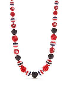 Kim Rogers Silver-Tone Americana Lucite Collar Necklace