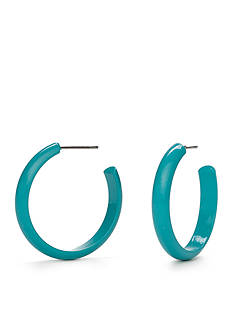 Kim Rogers® Silver-Tone Turquoise Lucite Semi Hoop Earrings