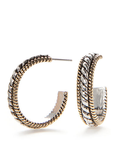 Kim Rogers® Two-Tone Sensitive Skin Adeline C Hoop Earrings