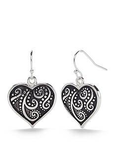 Kim Rogers Silver-Tone Antique Scroll Heart Drop Earrings