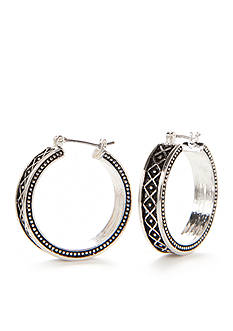 Kim Rogers Silver-Tone Sensitive Skin Antique Wide Hoop Earrings