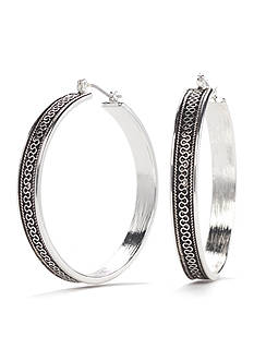 Kim Rogers Silver-Tone Antique Scroll Design Hoop Earrings