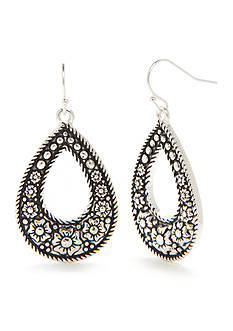 Kim Rogers® Silver-Tone Bali Flower Teardrop Earrings