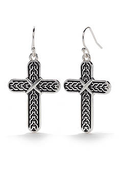 Kim Rogers Silver-Tone Antique Cross Chain Texture Drop Earrings
