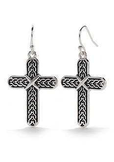 Kim Rogers® Silver-Tone Sensitive Skin Antique Cross Drop Earrings