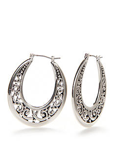 Kim Rogers Silver-Tone Sensitive Skin Adeline Hoop Earrings