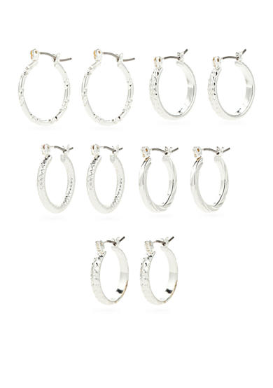 Kim Rogers® Silver-Tone Hoops Set of Five Boxed Earrings