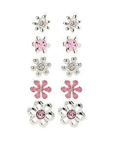 Kim Rogers® Silver-Tone Pink Flower 5-Piece Boxed Earring Set