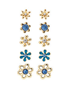 Kim Rogers® Gold-Tone Blue Flower 5-Piece Boxed Earring Set