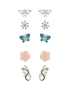 Kim Rogers Silver-Tone In The Rose Garden 5-Piece Earring Boxed Set