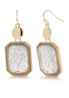 Kim Rogers Gold-Tone Threaded Gems Rectangle Drop Earrings