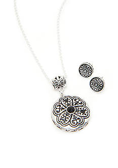 Kim Rogers Silver-Tone Sensitive Skin Bali Medallion Necklace and Earring Set