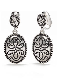Kim Rogers® Silver-Tone Antique Oval Scroll Design Clip Earrings
