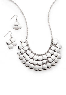 Kim Rogers Silver-Tone Shiny Teardrop Collar Necklace and Earring Set