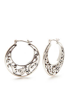 Kim Rogers Silver-Tone Bali Sensitive Skin Scroll Hoop Earrings