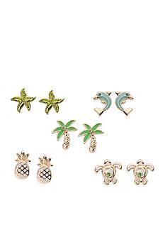 Kim Rogers Gold-Tone Tropical Fun Sensitive Skin 5-Piece Stud Earrings Boxed Set