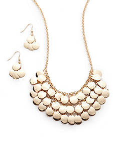 Kim Rogers Gold-Tone Shiny Teardrop Collar Necklace and Earring Set