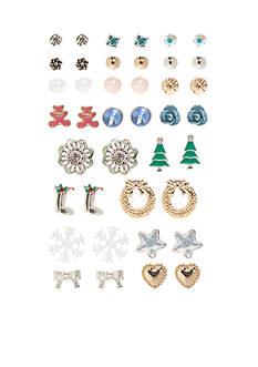 Kim Rogers Multi-Tone 20- Piece Snowflake Christmas Stud Earring Set