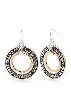 Kim Rogers Two-Tone Bali Double Circle Drop Earrings