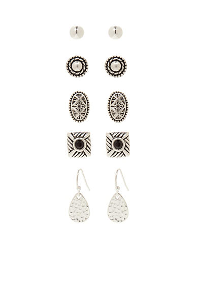 Kim Rogers® Silver-Tone Bali 5-Piece Boxed Earring Set