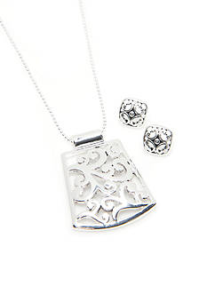 Kim Rogers Silver-Tone Sensitive Skin Bali Filigree Pendant and Earring Set
