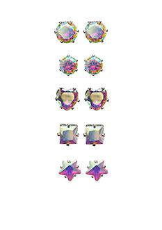 Kim Rogers Silver-Tone 5-Piece Sensitive Ears Sparkling Cubic Zirconia Earrings Boxed Set