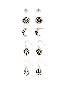 Kim Rogers Silver-Tone Bali Heart 5-Piece Boxed Earrings Set