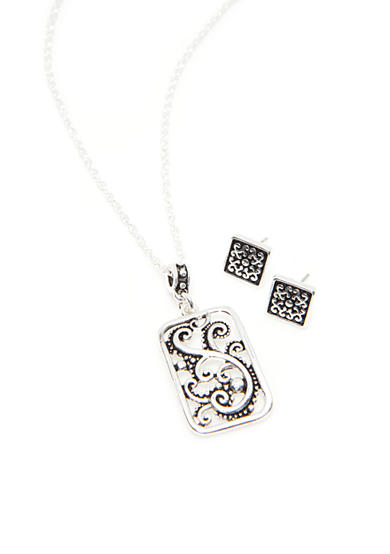 Kim Rogers® Silver-Tone Sensitive Skin Bali Square Pendant and Earring Set