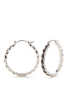 Kim Rogers® Silver-Tone Bali Sensitive Skin Twist Hoop Earrings