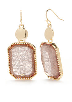 Kim Rogers Gold-Tone Threaded Gems Rectangle Drop Earrings
