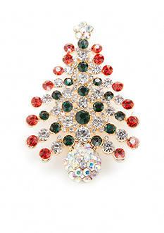 Kim Rogers Gold-Tone Holiday Christmas Tree Pin