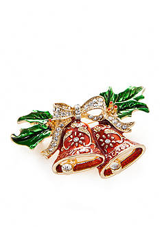 Kim Rogers Gold-Tone Christmas Bell Pin