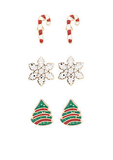 Kim Rogers Gold-Tone Holiday Stud Earrings Set